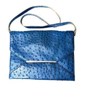 Merona Navy Faux Ostrich Envelope Clutch Handbag